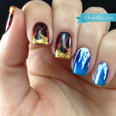 Fire and Ice Nails with Messy Mansion Stamping