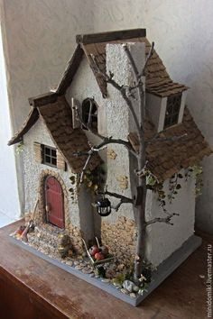 for fairy garden Clay Houses, Ceramic Houses, Putz Houses, Village Houses, Cardboard Houses, Miniature Rooms, Miniature Houses, Diy Dollhouse, Dollhouse Miniatures