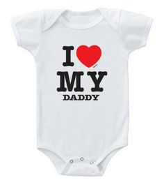 A parody of the nostalgic I Love NY tee, this baby onesie reads, I Love MY Daddy & makes a perfect Father's Day gift $14.95 at #Kiditude.com