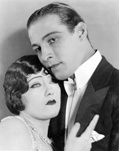 Actor Rudolph Valentino, pictured with Gloria Swanson, lighted up the silver screen with his defined side part and glossy jet black hair in such films as Beyond the Rocks and The Young Rajah
