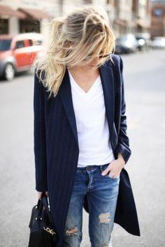oversized blazer and white shirt
