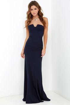 7afc9019af8 Ladylove Navy Blue Strapless Maxi Dress