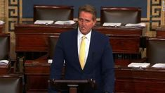 "Arizona Republican Sen. Jeff Flake, who is a frequent critic of President Donald Trump, sharply criticized the President on the Senate floor Tuesday for his remarks he made where he called Democrats ""treasonous."""