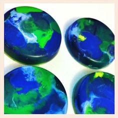 melt old crayons to make new ones! these are earth crayons for earth day. #kids #kids_stuff