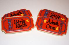 Movie Ticket Cookies by Cookie Couture, LLC, Movie Theater Party, Movie Night Party, Cute Cookies, Sugar Cookies, Circus Birthday, Birthday Ideas, Birthday Parties, Outdoor Movie Party, Cookies Light