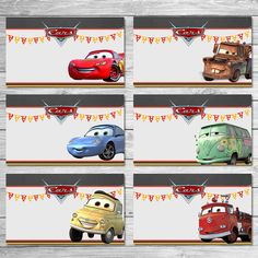 Greetings and thanks for taking a look at my Printable Cars Food Tents - a great choice when considering a Cars Themed Birthday party! I had so many requests for different characters, I made a second set of Cars Food Tents with 8 additional characters. You can view that set here: https://www.etsy.com/listing/485343021/disney-cars-food-tents-chalkboard-set-2 And a 3rd set with the new Cars 3 characters: https://www.etsy.com/listing/521269844/...
