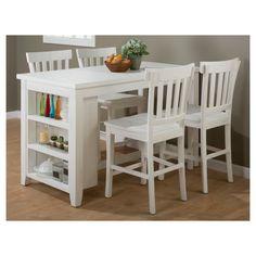 Madaket Counter Height Table with 3 Shelf Storage Wood/White - Jofran Inc. : Target