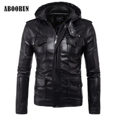 ABOORUN Winter Leather Jacket Men Hooded New Brand Warm Jackets Coats Black High Quality Moto Slim Fit Clothing W2185 #Affiliate