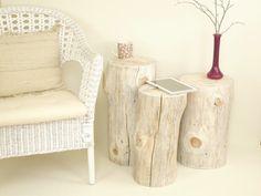 Set of 3 white Tree Stump table wood trunk set by FreeTreeStudio