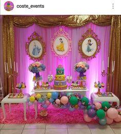 Disney Princess Birthday Party Dessert Table and Decor Princess Birthday Party Decorations, Disney Princess Birthday Party, Princess Theme Party, Girl Birthday Themes, Birthday Parties, Disney Princess Decorations, Parties Decorations, Birthday Crowns, Cinderella Party