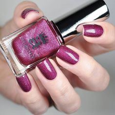"""""""Another gorgeous shade from @aengland_official #ToEmilyBronte collection is #LetMeIn  Burgundy polish with subtle holo  A full review is on my blog {link in profile}."""" Photo taken by @lacqueredbits on Instagram"""