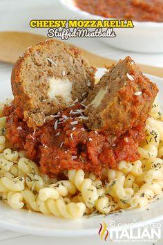 10 Meatball Recipes, including these Cheesy Mozzarella Stuffed Meatballs- YUM!- over spaghetti squash Yum Baked Meatball Recipe, Meatball Recipes, Meat Recipes, Chicken Recipes, Dinner Recipes, Cooking Recipes, Meatball Appetizers, Group Recipes, Pasta Recipes