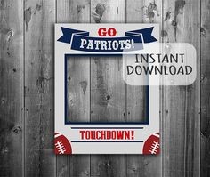 """New England Patriots digital download, giant photobooth, 20""""x30"""" large diy photo booth, nfl patriots football party theme, selfie props by YouGrewPrintables on Etsy"""