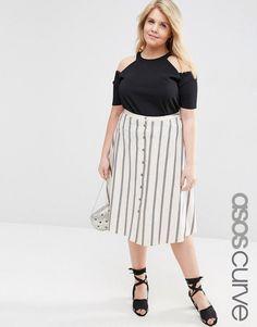 b8ea14cafe ASOS CURVE Button Through Midi Skirt In Stripe at asos.com