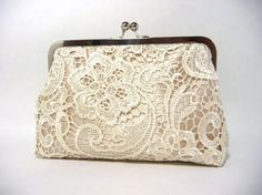 Champagne Lace Bridal Clutch Satin Bridal Purse Ivory Lace