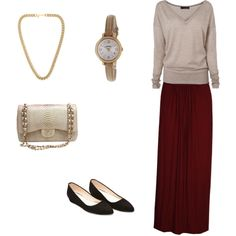 Modest fall maxi skirt outfit