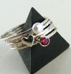 Valentine Stacking Rings  Ruby Pearl and by JessicaCoxJewelry, $85.00