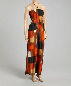 This Brown & Orange Abstract Shirred Halter Dress is perfect! #zulilyfinds