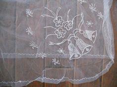 Vintage tulle table cloth veil wedding bells by HeartsomeHalos, $20.00