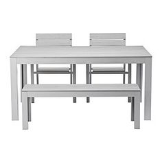 FALSTER, Table, 2 chairs and bench, outdoor, gray