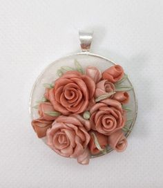 Polymer Clay necklace- shimmery peach neutral flower Roses by NadoandLola on Etsy