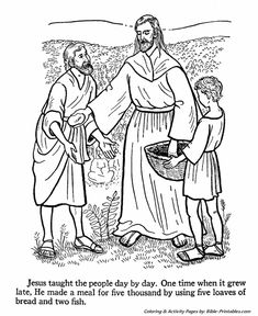 jesus teaches coloring pages jesus feeds the multitude with 5 loaves and 2 fish