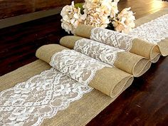 Wedding table runner antique pastel light cream by HotCocoaDesign, $23.00