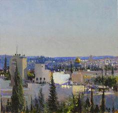 Andrew Gifford - Jerusalem from the Mount of Olives study 2 Paris Skyline, New York Skyline, Landscape Paintings, Landscapes, Mount Of Olives, City Painting, John Martin, Lavender Blue, Western Art