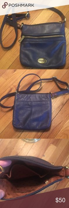 Fossil mini purse Navy blue genuine leather mini purse. Never used. New without tags. Dress it up or down. Great for a night out or day to day. These purses a built to last! I have this purse in another color and I absolutely love it I'm just trying to slim down my closet. Fossil Bags Crossbody Bags