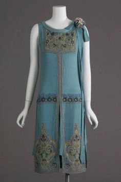 1927 dress, silk crepe, glass beads and metallic embroidery.  Worn as wedding dress.
