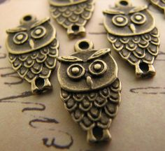 Charms : 10 Antique Bronze Double-Sided Owl Charms   Owl Pendants A9