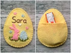 Felt Egg Easter Candy Holder - Personalised Embroidered Name Pastel Felt egg with bunny and butterflies, Easter gift, Personalized gift Listing is for 1 ornament Size of my decorated eggs is about 3 x 3 15/16 inch (7,5 x 10 cm) Handmade from wool blend and wool felt You can choose other background egg colors - see last photo of unfinished eggs Please specify: - name to be Embroidered - if you would like a hanging loop at the top to make this as an ornament Please NOTE !!! Candy is n...