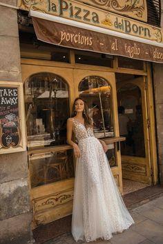 251b95cc092 berta fall 2019 muse bridal cap sleeves deep plunging v neck full  embellishment romantic a line wedding dress sheer button back sweep train  mv -- MUSE by ...