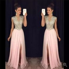 A-line Sparkly Pink Chiffon Prom Dress with Side Slit, Shop plus-sized prom dresses for curvy figures and plus-size party dresses. Ball gowns for prom in plus sizes and short plus-sized prom dresses for Sexy Formal Dresses, Split Prom Dresses, Sparkly Prom Dresses, Unique Prom Dresses, Prom Dresses 2017, A Line Prom Dresses, Girls Dresses, Dress Prom, Dress Long