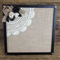 Large cork bulletin board/memo board covered in shades of green paisley fabric…