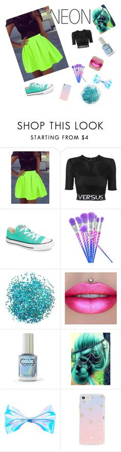 """""""Neon night out"""" by bennettgirls ❤ liked on Polyvore featuring beauty, Versus, Converse, Color Club and Sonix"""