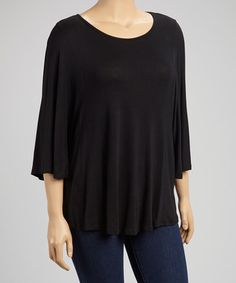 This Black Cape-Sleeve Top - Plus is perfect! #zulilyfinds
