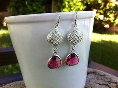 Fuchsia Pink Diamond Silver Drop Earrings Dangle by MiaCocoDesigns, $25.00