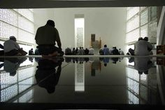 People in the prayer hall of Assyafaah Mosque, Singapore.