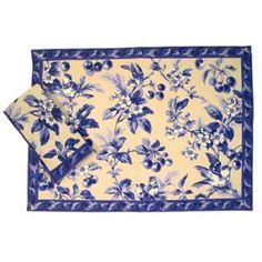 placemats and napkins | Cherry Blossom Antique Blue Placemat & Napkins | Shop food | Kaboodle