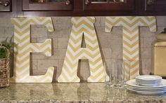 """Kitchen Decor featuring 18"""" unfinished wooden letters from Hobby Lobby"""
