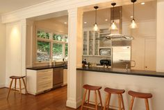 breakfast bar looking into living room - Google Search