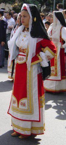 Traditional dress in Ogliastra, Sardinia, Italy