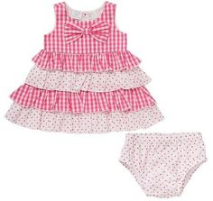 Koala Baby Girls' Tiered Gingham Sleeveless Pink Dress matching bloomers 6M NWT #KoalaBaby