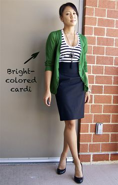 High-waisted skirt. stripes, and a bright cardi= a great combo