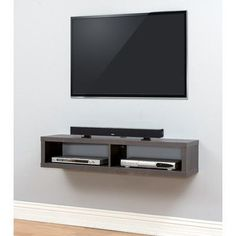"Martin Home Furnishings 48"" Shallow Wall Mounted TV Component Shelf"