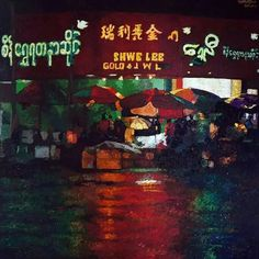 Impression: Yangon Night (1)  Kyee Myintt Saw  Acrylic onCanvas
