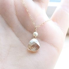 Tiny Crystal Everyday Gold Necklace - Swarovski Crystal, Ivory pearl - Gold Filled - Bridal Bridesmaid Necklace, Mother of Bride, Groom. $27.00, via Etsy.