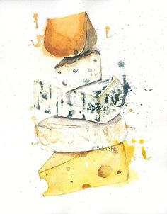 Original watercolor painting kitchen decor cheese от YuliaSheArt