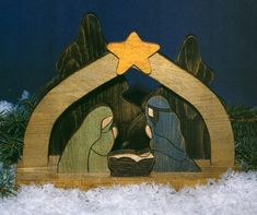 plans for wood outdoor manger scene - Yahoo Image Search Results Wooden Christmas Yard Decorations, Christmas Yard Art, Christmas Nativity, Christmas Wood, Outdoor Christmas, Christmas Projects, Handmade Christmas, Christmas Landscape, Christmas Bells